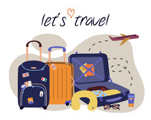 Vector Set With Travel Elements: Luggage Bags, Suitcases, Sunglasses, Cosmetics, Clothes, Airplane. Trendy Colorful Vacation Illustration In Cartoon Flat Style