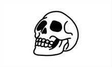 Human Skulls Hand Drawn From The Side. Line Art Vector Illustration