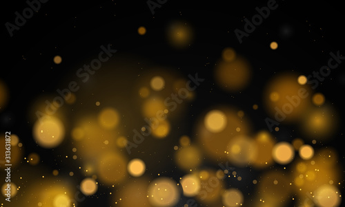 Fototapeta Abstract magical background with bokeh lights effect, black and white, silver, gold glitter for Christmas, for your banner, post obraz na płótnie