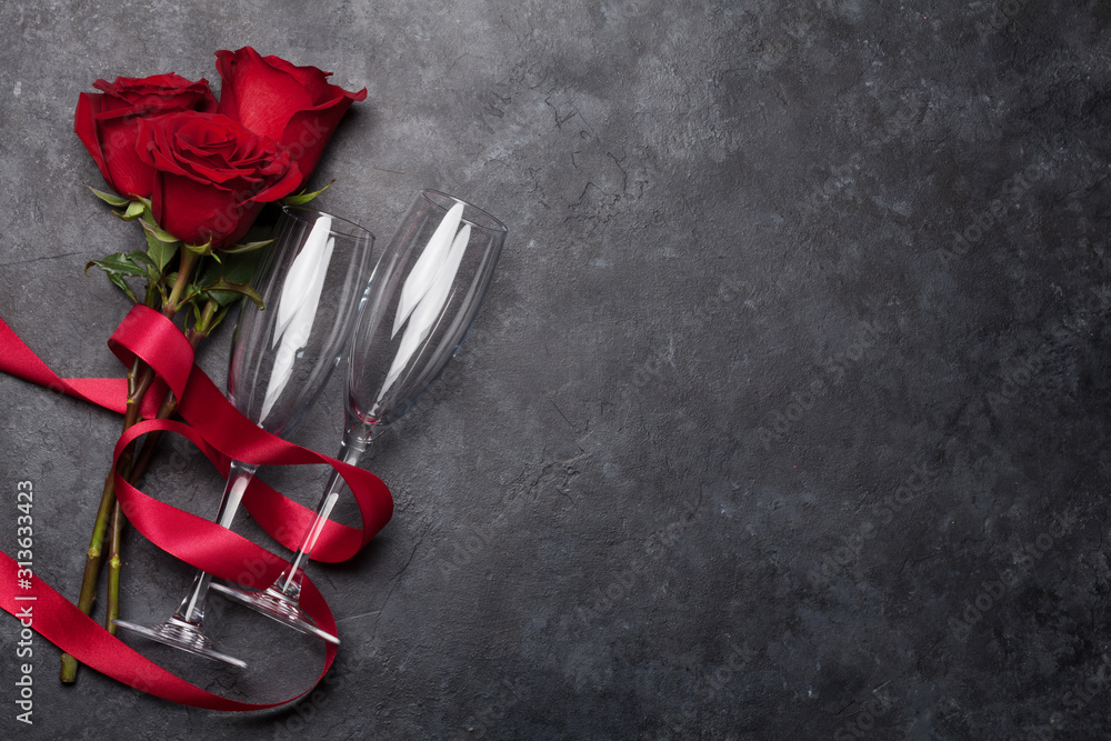 Fototapeta Valentines day card with rose flower bouquet