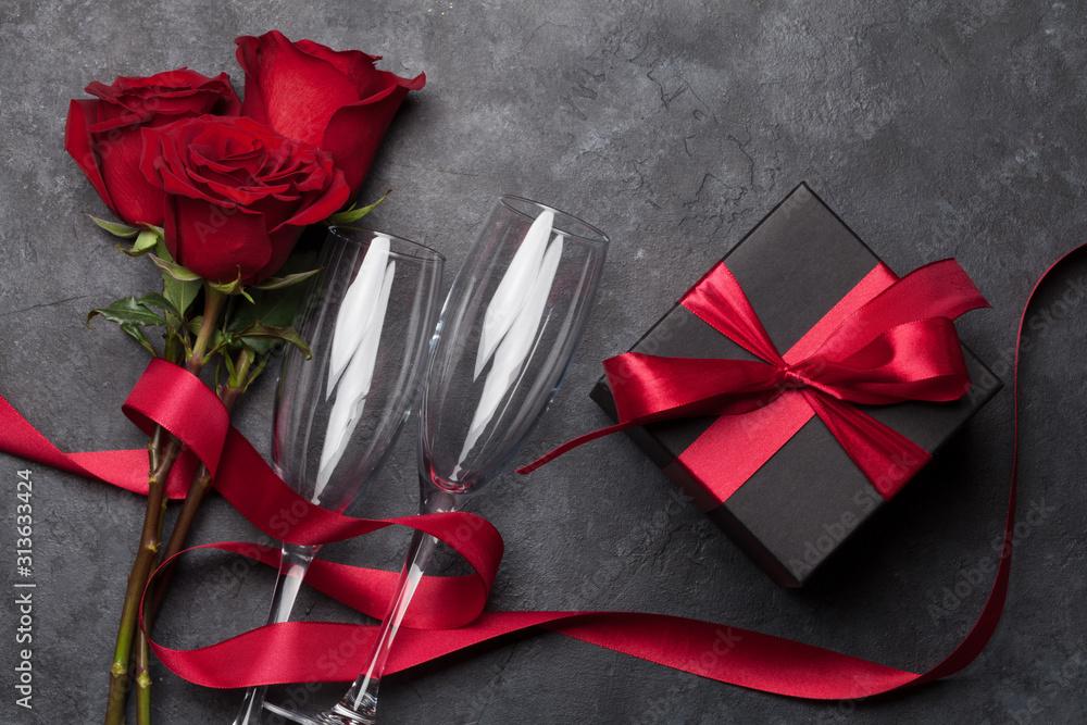 Fototapeta Valentines day gift box, wine and roses