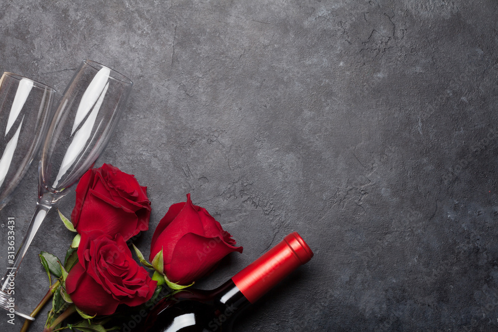 Fototapeta Valentines day with wine and roses