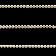 Seamless Pattern - Horizontal White Pearl Strings On Black Background