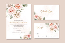 Elegant Wedding Card Set Template Watercolor