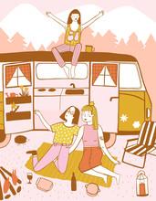 Illustration Of Teenage Girls ...
