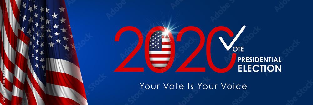 Fototapeta 2020 Presidential Election. 2020 United States of America Presidential Election. Vote America Presidential Election Vector Design.