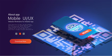 A Mobile Phone With A Scanner Reads The Qr Code. Trendy Isometric Vector Smartphone. Web Template For Header. Web Development. Black Background. Qr Code On Blue Background Cyber.