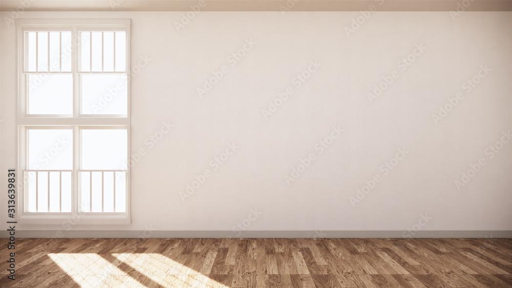 Fototapeta Empty room white on wooden floor interior design. 3D rendering