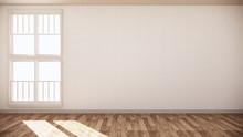 Empty Room White On Wooden Flo...