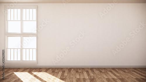 Fototapeta Empty room white on wooden floor interior design. 3D rendering obraz