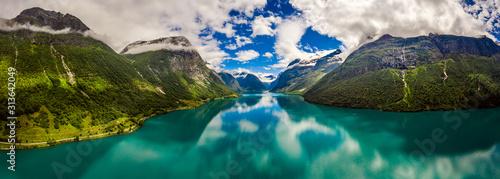 Fotografering Panorama lovatnet lake Beautiful Nature Norway.
