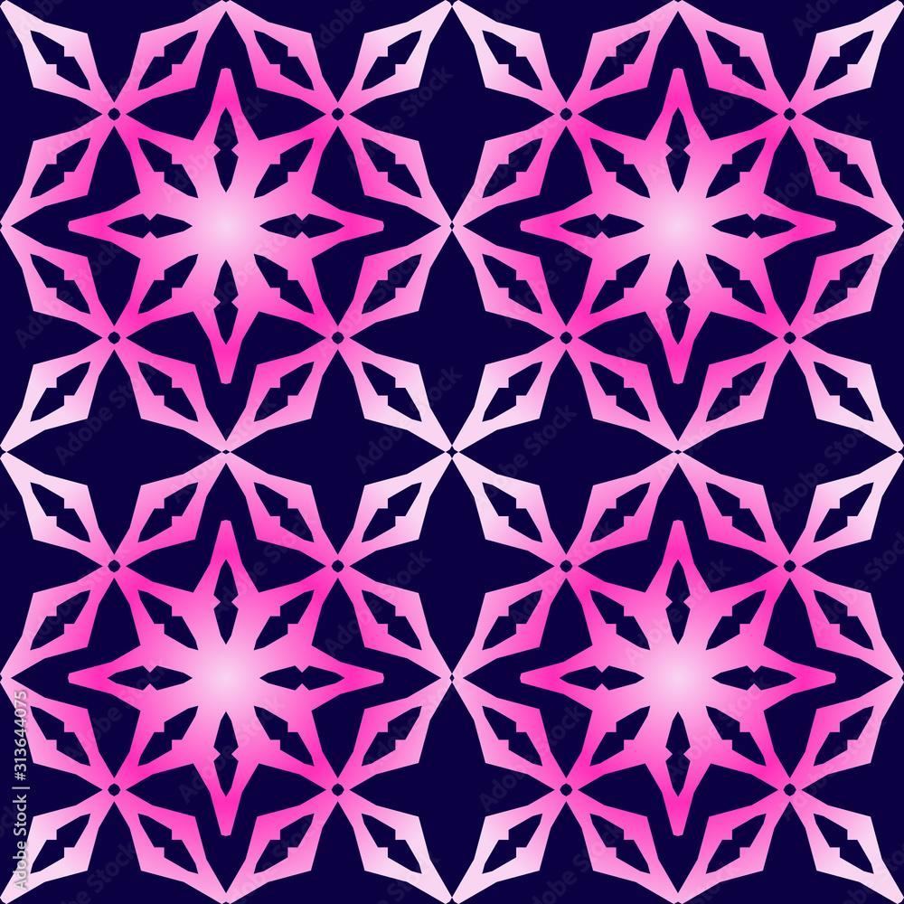 Simple geometric floral motifs seamless pattern. Abstract vector background. Holographic gradient wallpaper.