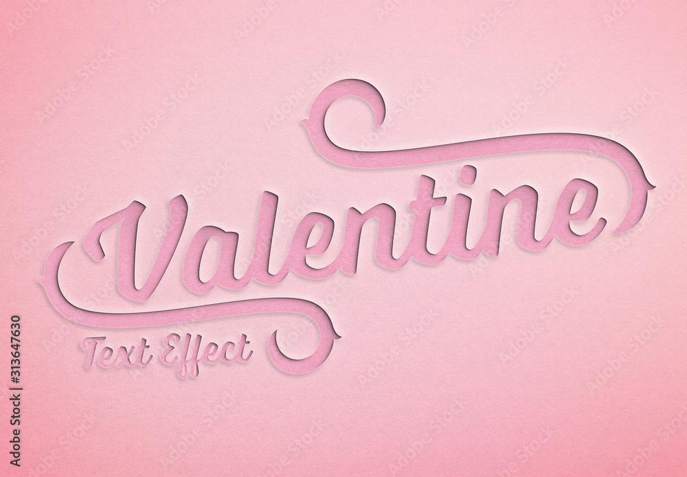 Fototapeta Valentine'S Day Paper Cut Text Effect Mockup