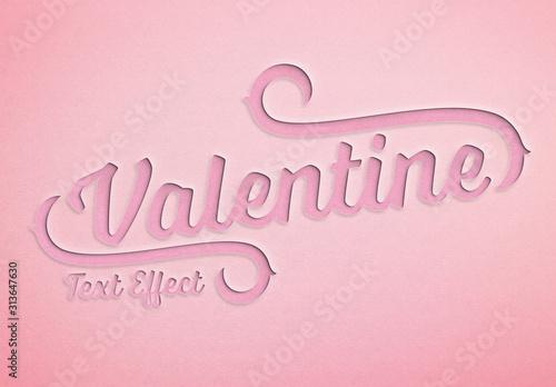 Fototapeta Valentine'S Day Paper Cut Text Effect Mockup obraz