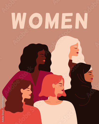 Fototapeta Five Young strong women stand together. Concept of women empowerment, self-acceptance, and gender equality.  Vector flat illustration obraz