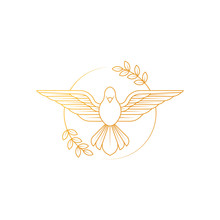 Dove Of Peace. Illustration Of Flying Dove Holding An Olive Branch Symbolizing Peace On Earth.