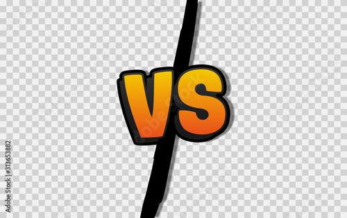 Fotomural  VS. Versus letter logo. Battle vs match, game