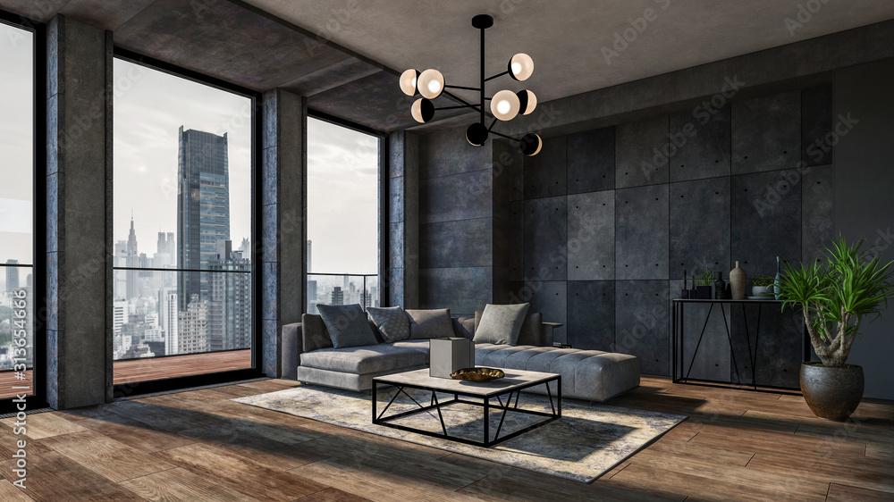 Fototapeta Modern interior of a living room. Penthouse Loft with dark stone walls (3d Rendering)