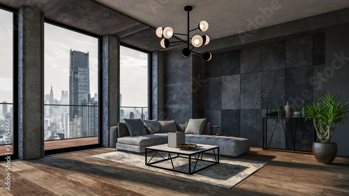 Modern interior of a living room. Penthouse Loft with dark stone walls (3d Rendering)