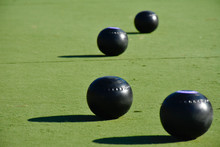 Lawn Bowls Balls Positioned On...