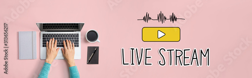 Obraz Live stream with person using a laptop computer - fototapety do salonu