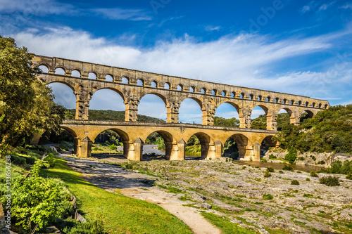 Fotografia Roman Aqueduct Pont du Gard - Nimes, France