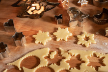 Cutting Out Star Shapes For Traditional Linzer Christmas Cookies