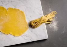 Close Up Of Dough With Pasta Stripes