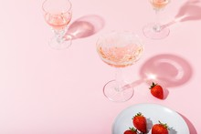 Close Up Of Champagne And Strawberries On Table