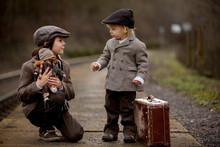 Adorable Boys On A Railway Sta...