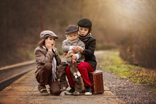 Adorable Boys On A Railway Sta...
