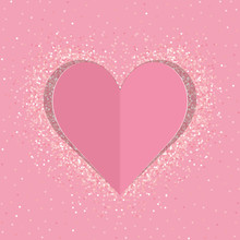 Pink Paper Love Heart With Shimmer. Vector