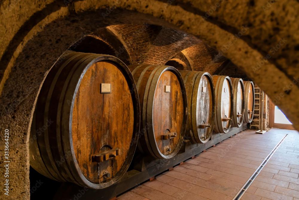 Fototapeta wine cellar in Thallern winer, Gumpoldskirchen near Vienna, Lower Austria, Austria