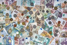 Currencies From Around The World, Collage Of Banknotes And Coins
