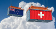 Freight container with New Zealand and Switzerland flag. 3D Rendering