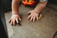 Cute Baby Hands Exploring In The Garden