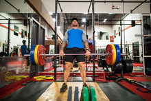 Bodybuilder Completes Deadlift In The Gym.