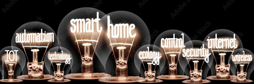 Fototapeta Light Bulbs with Smart Home Concept