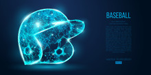Abstract Baseball Helmet From Particles, Lines And Triangles On Blue Background. All Elements On A Separate Layers, Color Can Be Changed To Any Other. Low Poly Neon Wire Outline Geometric. Vector