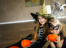 Two Sisters Dressed For Hallow...