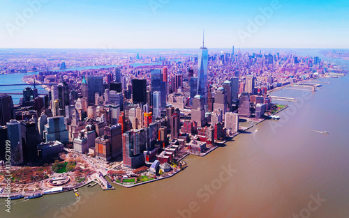 Aerial view from Skyline with Skyscrapers in Lower Manhattan, New York City, America USA Wallpaper Mural