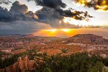 Dramatic Sunrise Over The Amphitheater At The Bryce Canyon, Utah