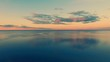 Aerial Drone Flight shooting of Beautiful Sky and Water in sunset soft light. Turn right. Magestic landscape. Kiev Sea, Ukraine, Europe.