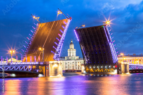 Neva River with Palace Bridge in St. Petersburg, Russia Canvas Print