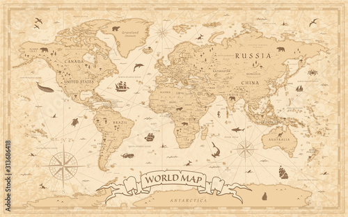 World Map Vintage Old-Style - vector - layers Wallpaper Mural