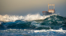 Abandoned Ship In The Stormy O...