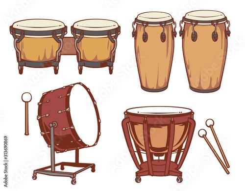 Percussion instruments set. Fototapete