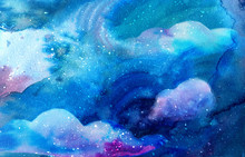 Magical Watercolor Space Textu...