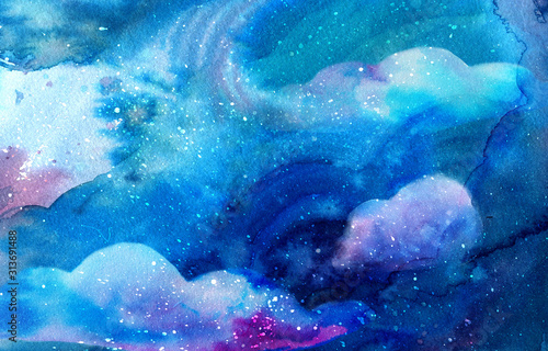 Magical watercolor space texture with stars and fantasy clouds. Mix of deep blue, teal and purple colors. Cosmic background with paint strokes and washes