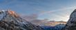 canvas print picture - julian alps mountains at sunset winter landscape